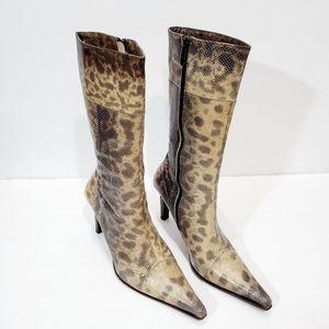 Gianmarco lorenzi snake skin pointy zip up boots